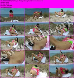 HotKinkyJo.xxx [04.05.2013] Hot Kinky Jo - Playing with long black dildo on the beach Thumbnail